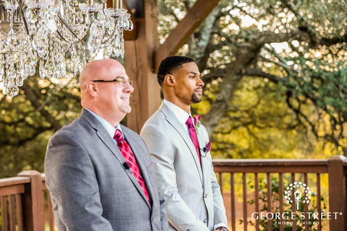 emotional grooms first look on ceremony gabriel springs austin wedding photos