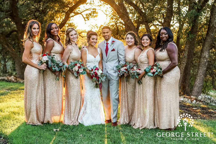 gabriel springs austin cheery bridesmaids in garden wedding photos