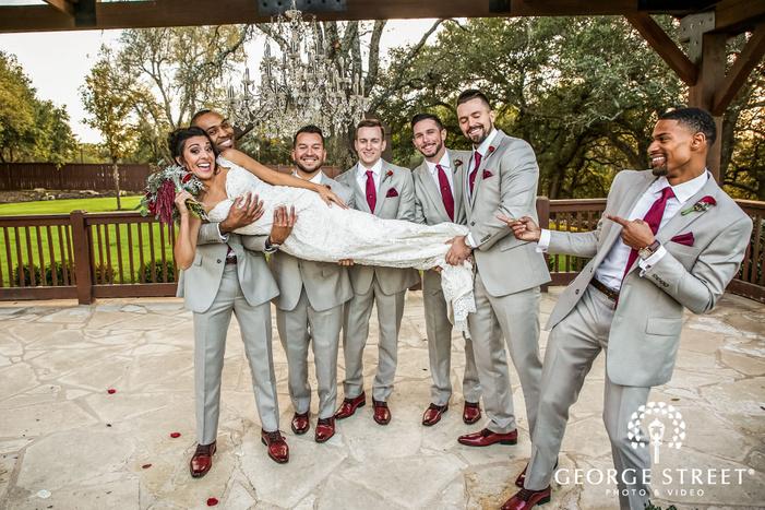 gabriel springs austin cheery groomsmen gazebo rails wedding photos