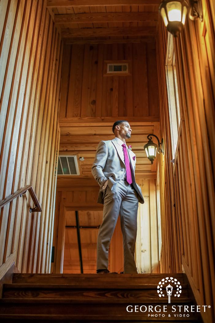 gabriel springs austin cute groom on stairs wedding photos