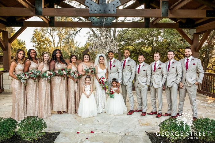 gabriel springs austin happybridemaids and groomsmen group in gazebo wedding photos