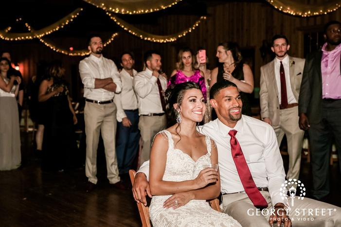 happy couple on reception gabriel springs austin wedding photos