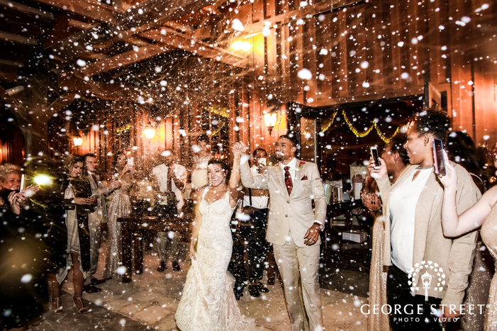 lovely couple exit from reception gabriel springs austin wedding photos