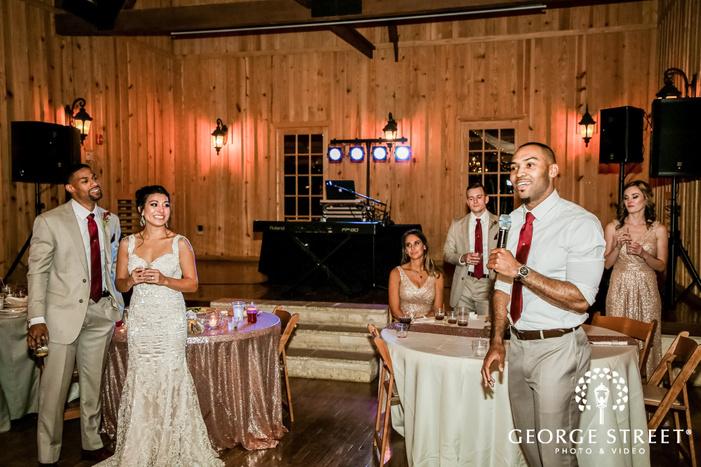 lovely groomsman toast on reception gabriel springs austin wedding photos