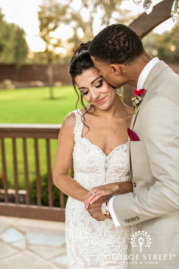 romantic couple on balcony gabriel springs austin wedding photos