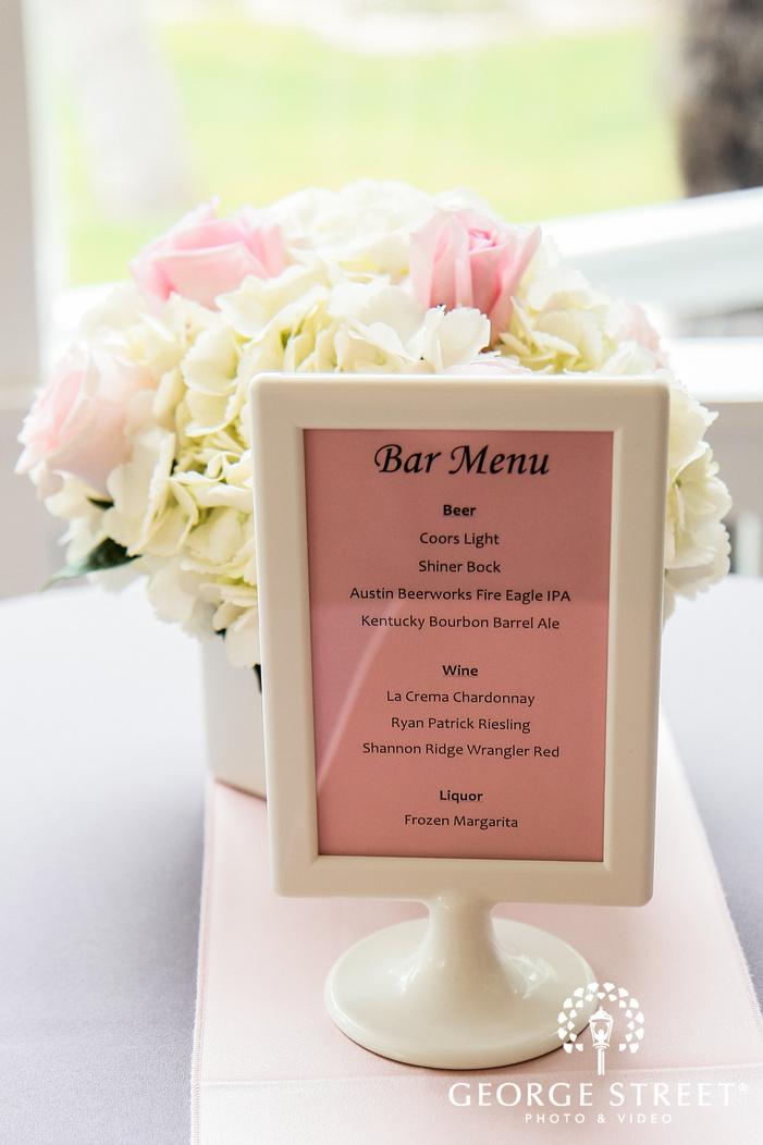 classic reception menu in frame wedding photo