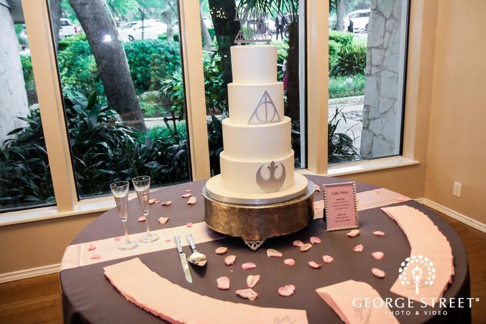 elegant four tier silver wedding cake wedding photo