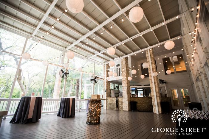 elegant reception setting in patio wedding photo