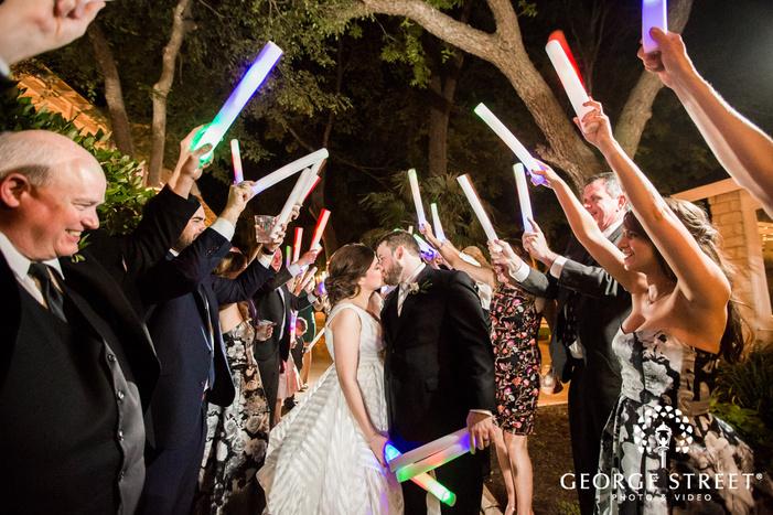 romantic bride and groom reception exit wedding photos