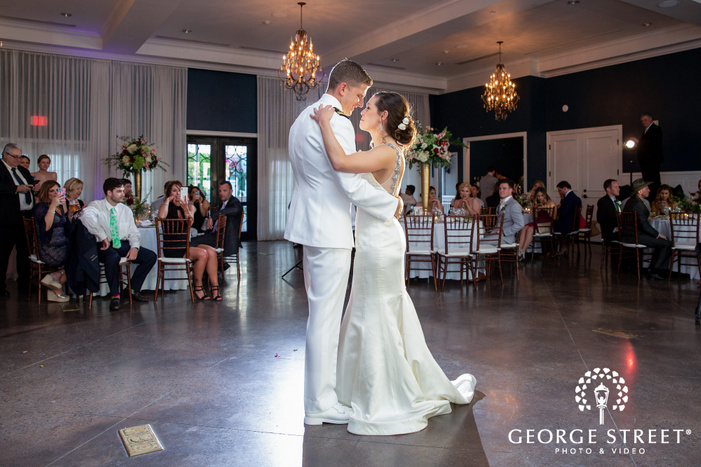 blissful bride and groom first dance at hotel ella in austin