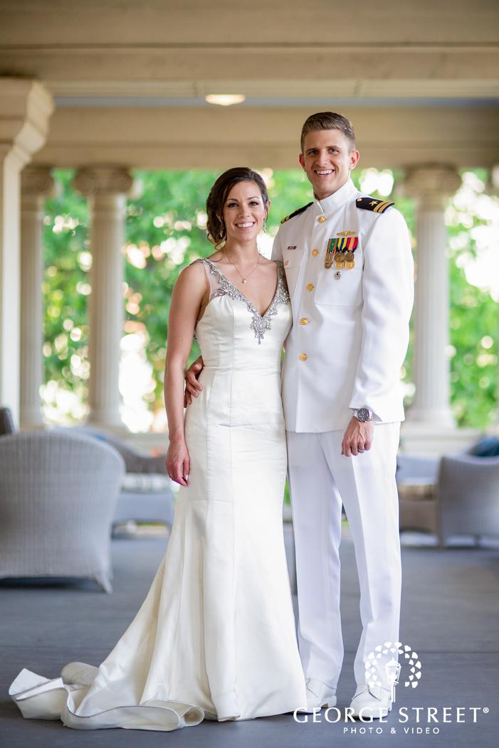 charming bride and groom in veranda at hotel ella in austin