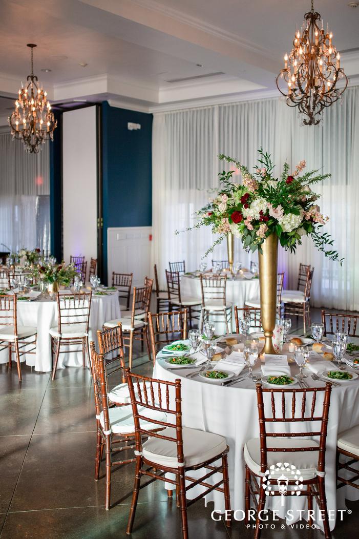 majestic reception hall table setting wedding photo