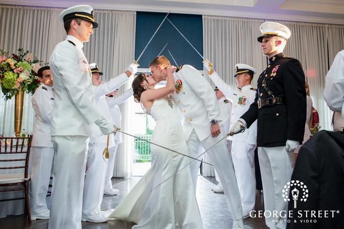 romantic bride and groom military style reception entrance wedding photos