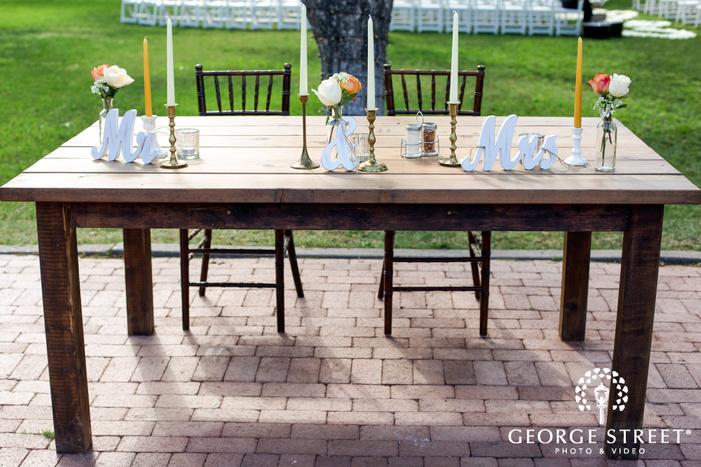 classy couple reception table wedding photo