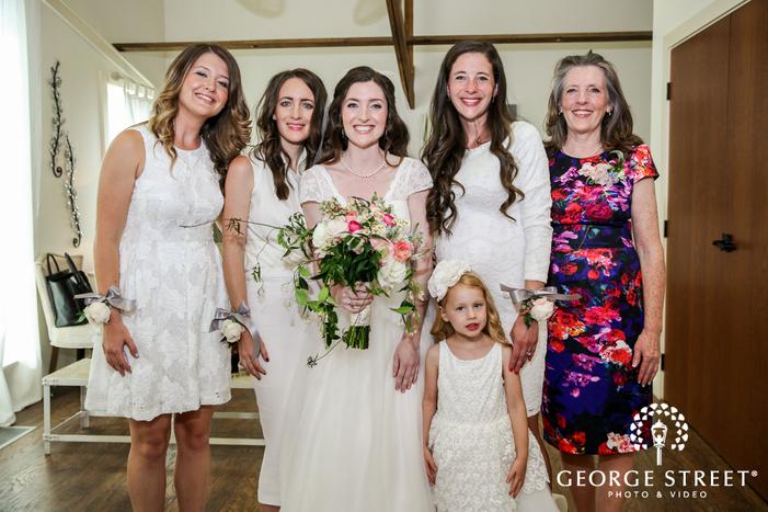 pretty bride and bridesmaids in bridal suite wedding photography