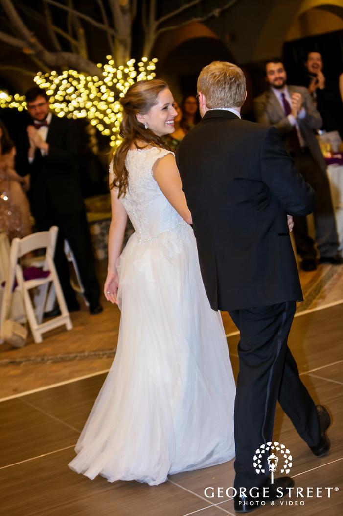 cute bride and groom reception entrance
