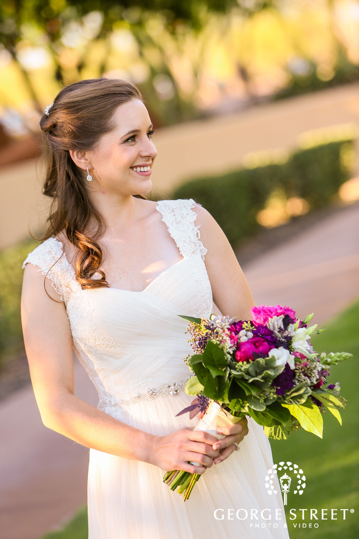 gorgeous bride with lovely bouquet