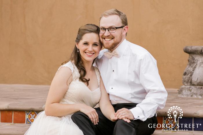 sweet bride and groom on steps