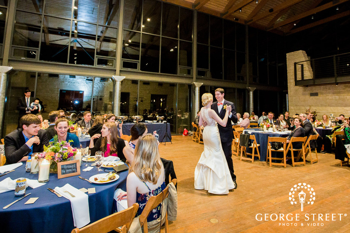 adorable bride and groom reception dance at lady bird johnson wildflower center in austin
