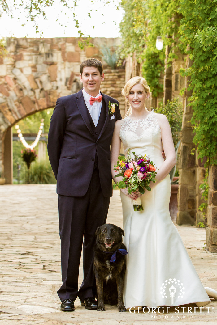 good looking bride and groom on walkway