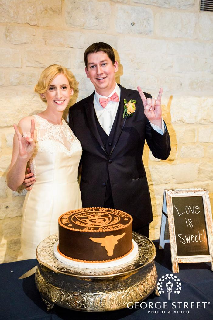 joyful bride and groom at reception