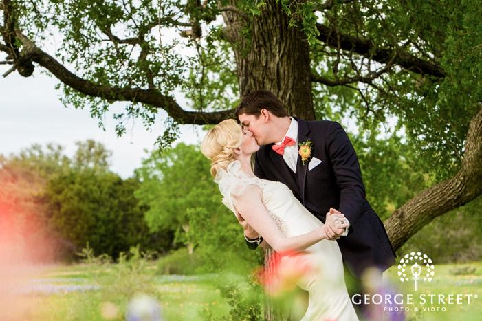 lovable bride and groom in garden