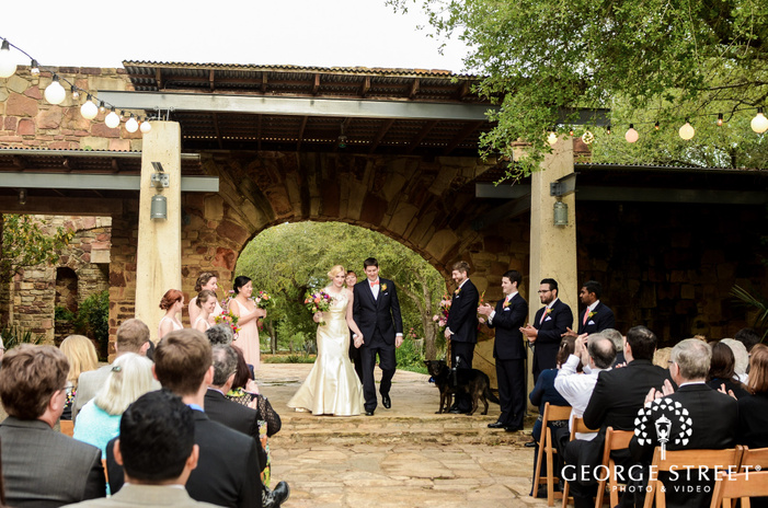 ravishing bride and groom at ceremony exit