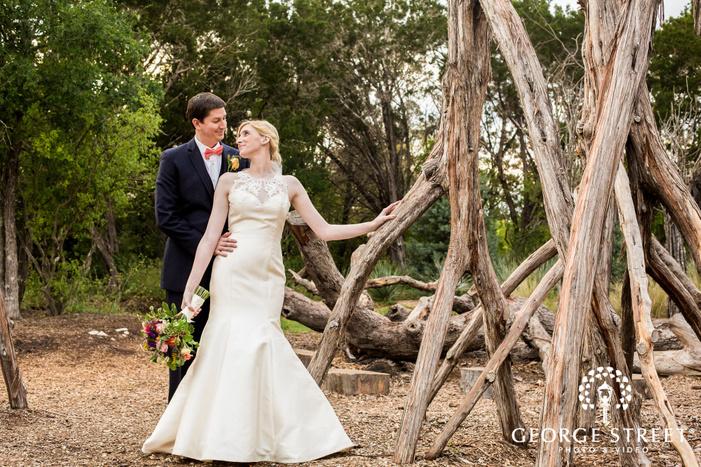 stunning bride and groom in yard