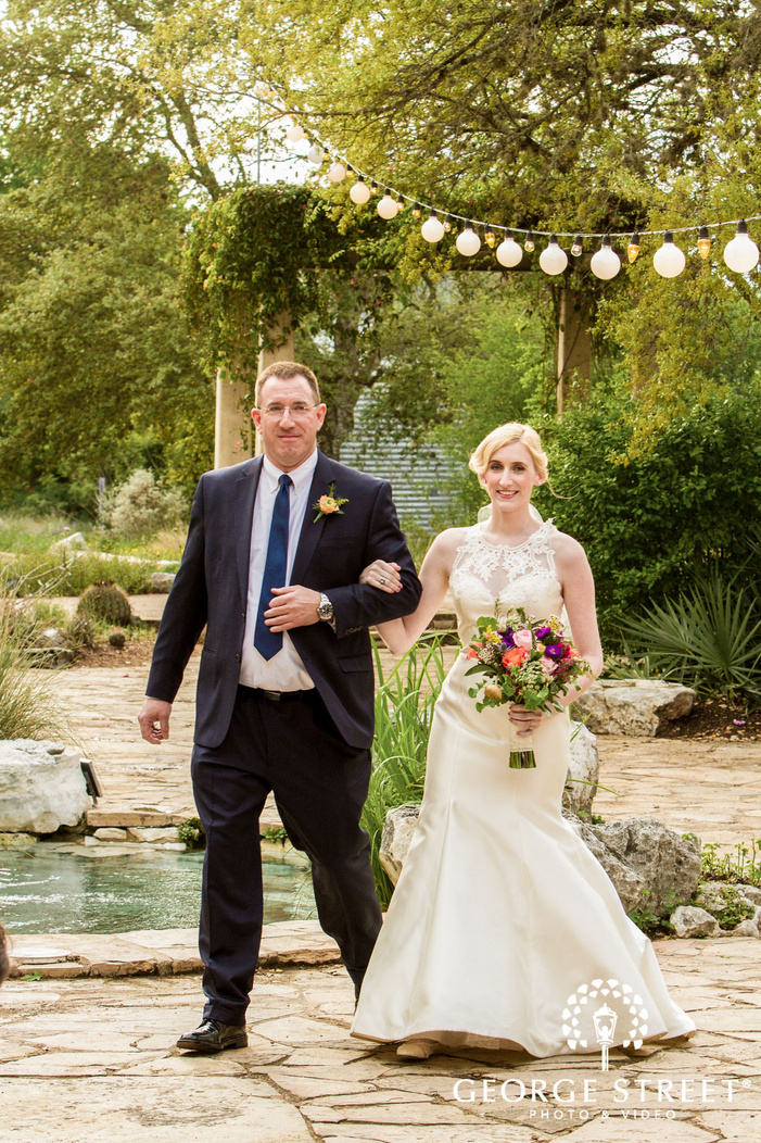 sweet bride and father at ceremony entrance