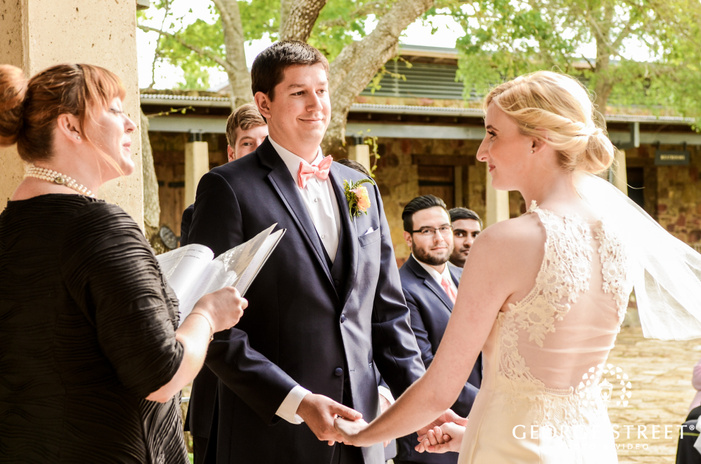 sweet bride and groom at wedding ceremony