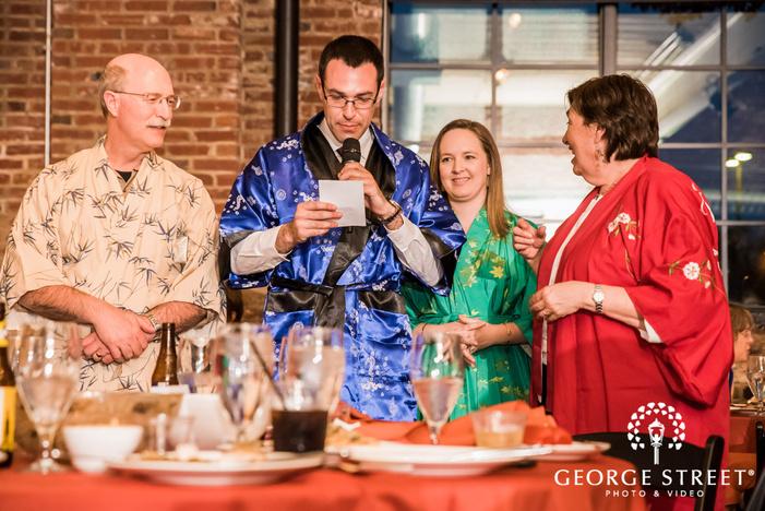 joyful guests at reception party wedding photo