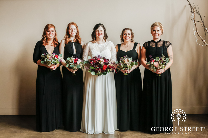 beautiful bride and bridemaids in hall wedding photography