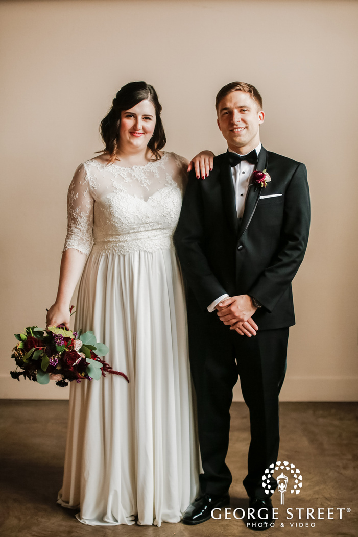 lovely bride and groom at the foundry in seattle
