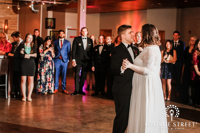 lovely bride and groom first dance at the foundry in seattle