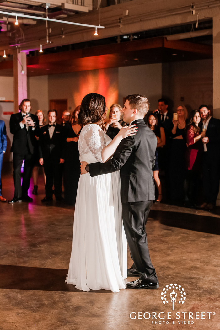 romantic bride and groom first dance wedding photo