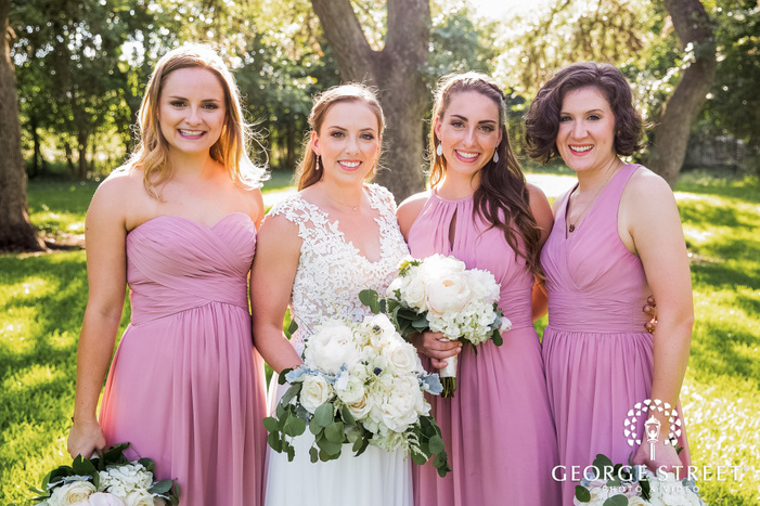sweet bride and friends wedding photos