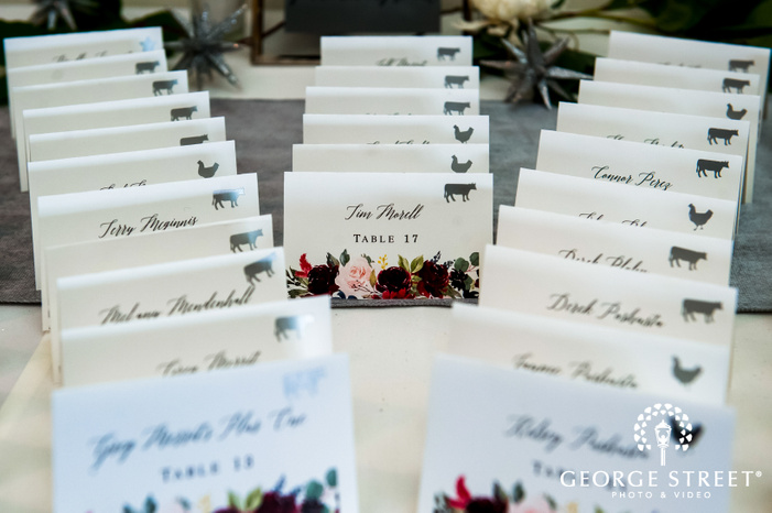 close up shot of table reservation cards for guests displayed on a table top wedding photography