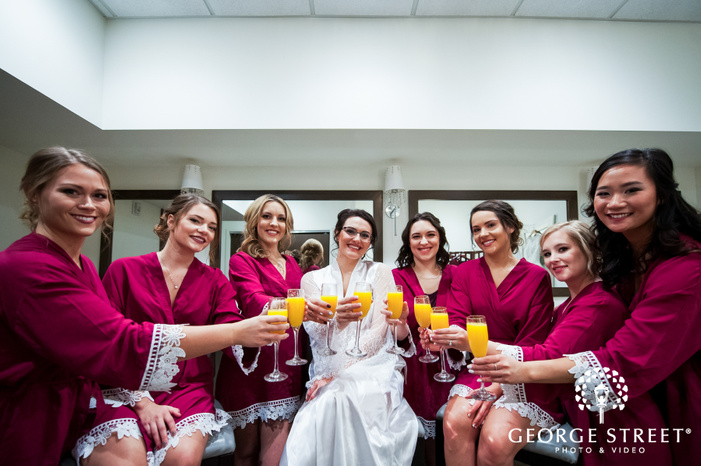 frame showcasing the bride posing with her bridesmaids all holding glasses wedding photography