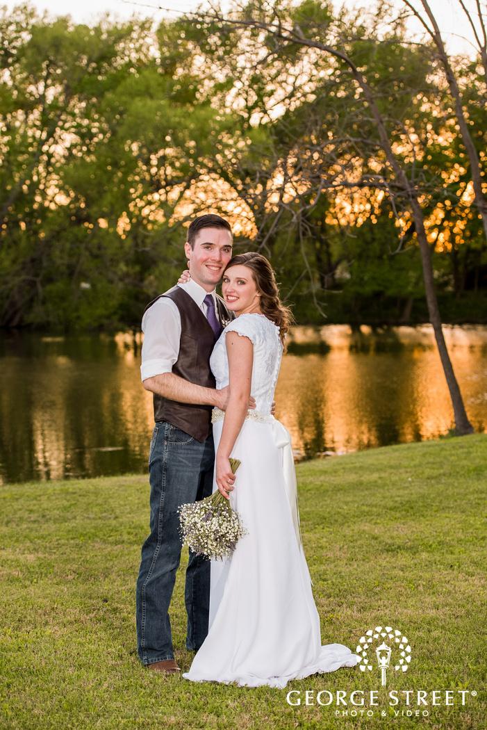 cross creek ranch delightful couple near pond dallas fort worth wedding photos