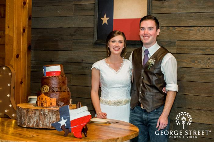 cross creek ranch happy couple cake cutting ceremony dallas fort worth wedding photos