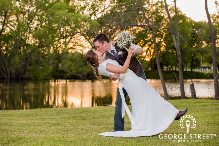 cross creek ranch passionate couple at lakeside dallas fort worth wedding photos