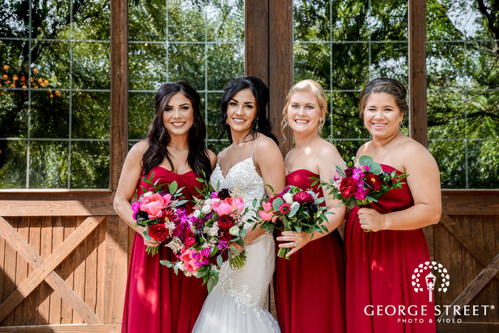 lovely bride with friends wedding photos