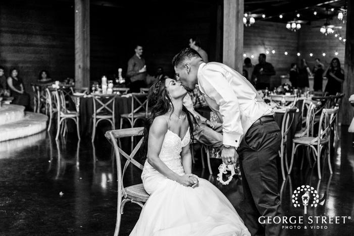 romantic bride and groom on reception game wedding photos