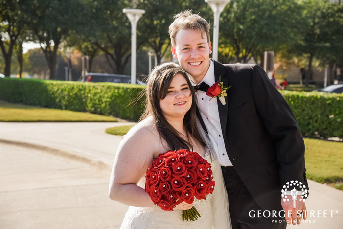 prestonwood country club adorable couple driveway dallas fort worth wedding photos