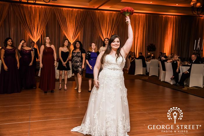 prestonwood country club bride and friends bouquet toss dallas fort worth wedding photos