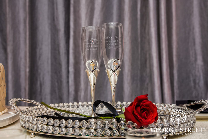 prestonwood country club customized bride and groom glasses dallas fort worth wedding photos