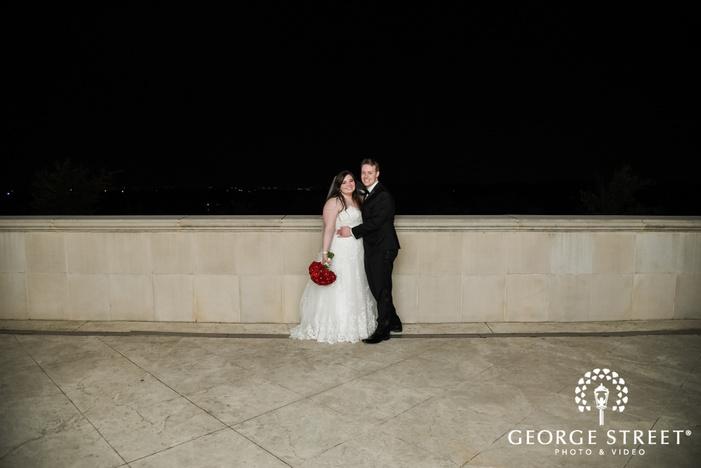 prestonwood country club romantic couple on terrace dallas fort worth wedding photos