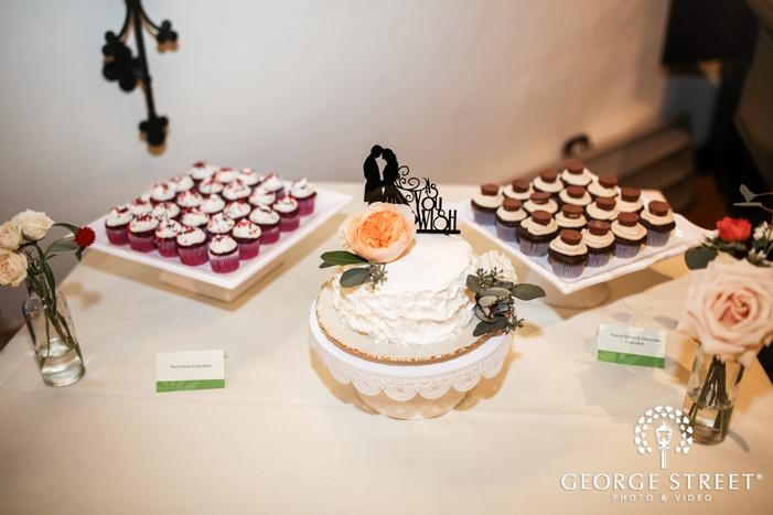 delicious dessert table setup in reception wedding photo