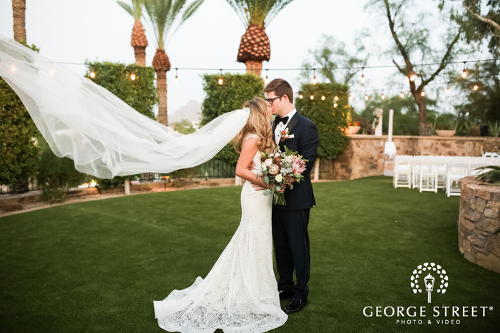 intimate bride and groom in wrigley mansion garden wedding photography