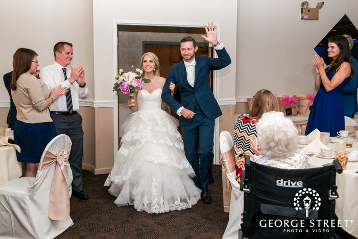 beautiful bride and handsome groom arriving at georgetown centre pittsburgh